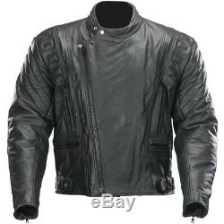 Spada Road Leather Urban Custom Retro Cruiser Motorbike Motorcycle Jacket Black
