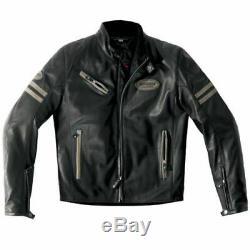 Spidi Ace Leather Motorcycle Cafe Racer Retro Jacket Ice/Black