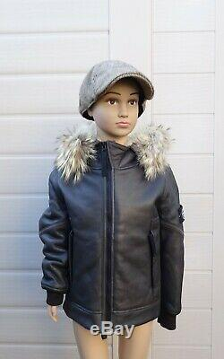 Stone Island Junior Brown Hooded Jacket Sheepskin Leather Age 6 Mint Condition