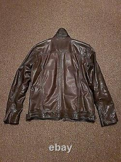 Superdry men's Ryan zipped cuffs double collar brown leather jacket