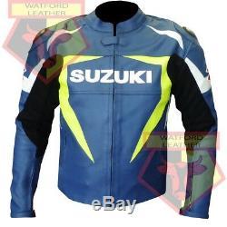 Suzuki 1075 Blue Motorbike Motorcycle Bikers Cowhide Leather Armoured Jacket