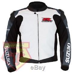 Suzuki 1078 Gsxr Grey Motorbike Motorcycle Biker Cowhide Leather Armoured Jacket