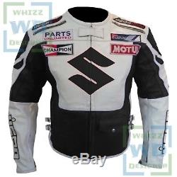 Suzuki 4269 Black2 Armour Cowhide Leather Jacket Motorbike Motorcycle Biker Coat