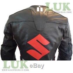 Suzuki 4269 Black Cowhide Leather Biker Jacket Motorcycle Motorbike Coat