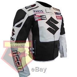 Suzuki 4269 Black/white Motorcycle Armoured Cowhide Leather Motorbike Jacket