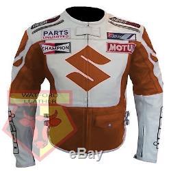 Suzuki 4269 Orange Motorbike Motorcycle Real Cowhide Leather Armoured Jacket
