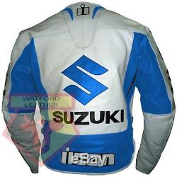 Suzuki 4269 Sky Blue Motorbike Motorcycle Biker Cowhide Leather Armoured Jacket