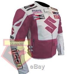 Suzuki 4269 Women's/mens Custom Made Cowhide Leather Pink Motorbike Rider Jacket