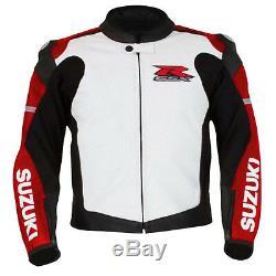 Suzuki 4316 Red Motorbike Motorcycle Biker Cowhide Leather Armoured Jacket