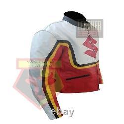 Suzuki 4320 Red Motorbike Motorcycle Bikers Cowhide Leather Armoured Jacket