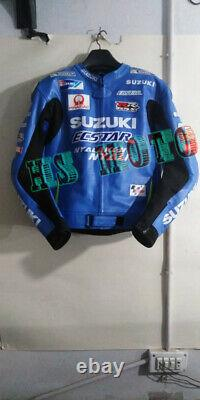 Suzuki Ecstar Motorcycle Motorbike Racing Leather Jacket