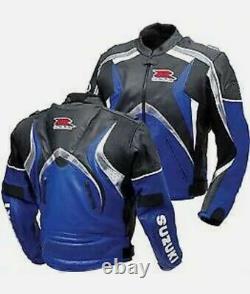 Suzuki GSXR Leather Jacket Cowhide Racing Moto Jacket Biker Suit Sports