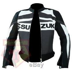 Suzuki Gsx Gun Metal Motorbike Motorcycle Biker Cowhide Leather Armoured Jacket