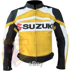Suzuki Gsx Yellow Motorbike Motorcycle Biker Cowhide Leather Armoured Jacket