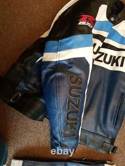 Suzuki Gsxr Motorcycle Cowhide Men Leather Suit Motorbike Jacket Pant 2-piece