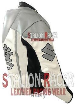 Suzuki Hayabusa Motogp Motorbike Racing Cowhide Leather Jacket/Cuero Chaquetas