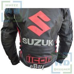 Suzuki ICON 4269 Hand Made Black Cowhide Leather Biker Jacket Motorcycle Coat