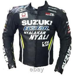 Suzuki Motorbike Original Cowhide Leather Jacket With CE Approved Protections