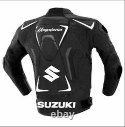 Suzuki Motorcycle Armoured Cowhide Black Leather Jacket