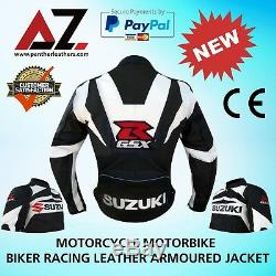 Suzuki Motorcycle Motorbike Racing Leather Jacket CE Armour Cowhide Leather