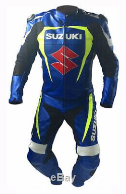 Suzuki Motorcycle Suit Leather Motorbike Jacket Trouser Racer Armour Protective