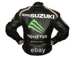 Suzuki motorbike leather jacket riders suit motorcyclist clothing cowhide jacket