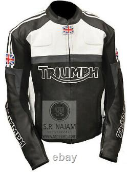 TRIUMPH Black Cowhide Leather Sports Motorbike Motorcycle Customize CE Jacket