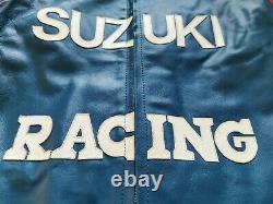 Team SUZUKI RACING COWHIDE LEATHER JACKET XL BLUE WHITE RED MOTORBIKE VINTAGE