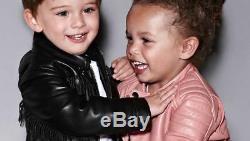Tom Ford Baby Black Fringe Leather Jacket 2 Years