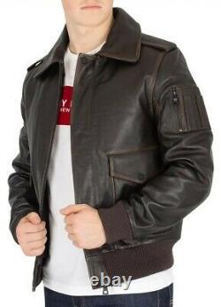 Tommy Hilfiger Men's Aviator Shearling Leather Jacket, BrownSize 54