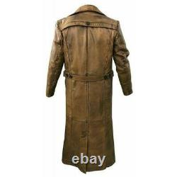 Trench Coat New Men's Sheep Leather Long Jacket Vintage Distressed Brown Coat