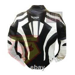 Triumph 5000 Black And White Motorbike Motorcycle Cowhide Leather Armour Jacket