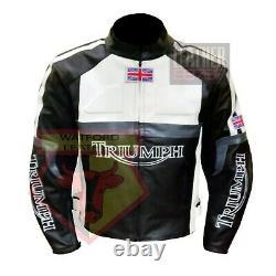 Triumph 5001 Black Motorbike Motorcycle Cowhide Leather Armoured Jacket
