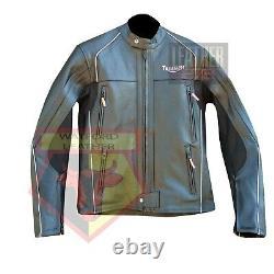 Triumph 5002 Black Motorbike Motorcycle Bikers Cowhide Leather Armoured Jacket