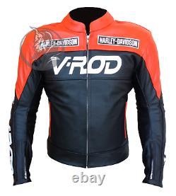 VROD Motorbike Racing Leather Jacket CE Armor Custom Made Harley Jacket