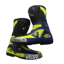 Valentino Rossi VR46 Motorcycle Motorbike Racing Leather Boot Size UK 9 UK 10