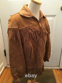 Vintage 1950s Roy Rogers Boys Western Buckskin Leather Suede Fringe Jacket Coat