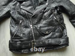 Vintage 90s black biker leather jacket real leather biker jacket