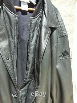Vintage Adidas Leather Jacket. World Cup 1998. 3 stripe logo. Big Boy XXL Tall