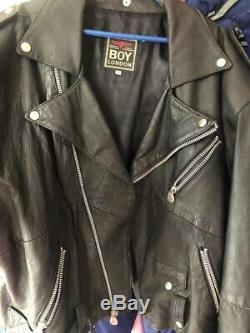 Vintage Boy London biker Genuine LeatherJacket black, eagle, large