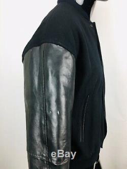 Vintage Bugle Boy Men's Black Wool and Leather Varsity Jacket size Large