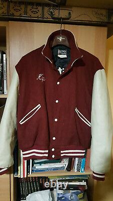 Vintage Butwin USA Men Varsity College Jacket 44 L XL 1980's Wool Leather