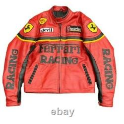 Vintage Chesterfield Real Genuine Leather Ferrari Racing Jacket. CE Approved Pad
