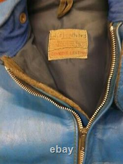 Vintage Lewis Leathers Motorcycle Jacket & Trousers Suit in Blue Aviakit Small