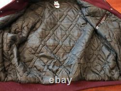 Vintage No Fear Mens Burgundy Red Black Leather Wool Varsity Jacket XXL RARE