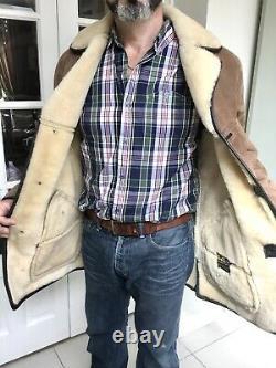 Vintage Sheepskin Shearling Coat Size Large Del Boy Warm Winter Made In England