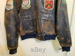 Vintage Sky Boys Usaaf Type Sky-1 Leather Bomber Flying Jacket Size XL Badges