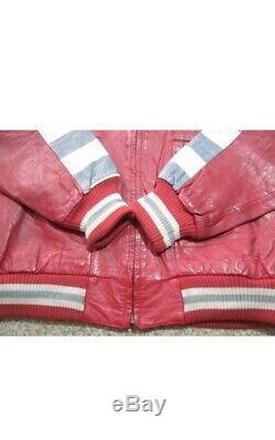 Vintage Task Force Leather Jacket Med Hip Hop B-Boy Troop MCM Jekel Eddy Sports