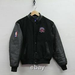 Vintage Toronto Raptors Pro Player Wool Leather Jacket Youth Large 90s NBA
