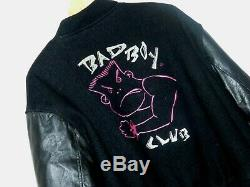 Vintage USA Made Life's A Beach Bad Boy Club Wool Leather Varsity Jacket Black